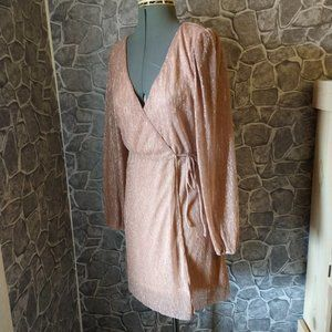 NWT Almost Famous Long Sleeve Plunge  Dress S